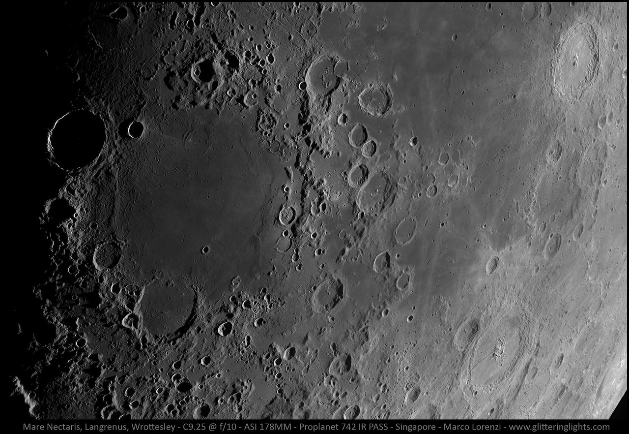 Mare Nectaris and Craters Langrenus & Wrottesley