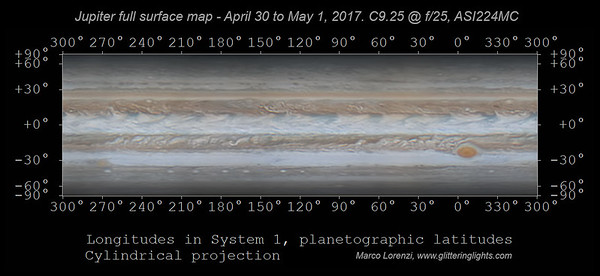 Jupiter full surface map, April 30 - May 1, 2017