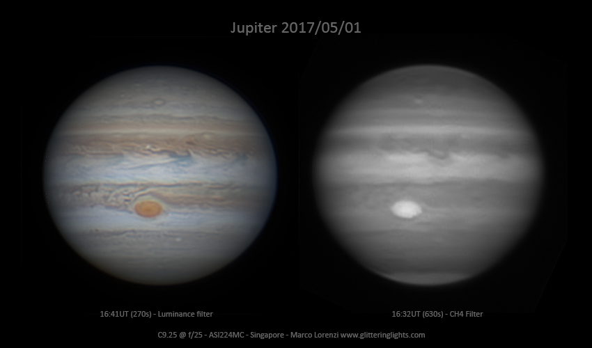 Jupiter May 1, 2017 in Luminance and  CH4 filters