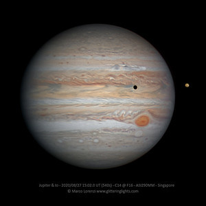 Jupiter and Io on August 27, 2020