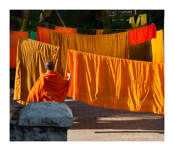 Monk And Laundry, Luan Prabang, Laos