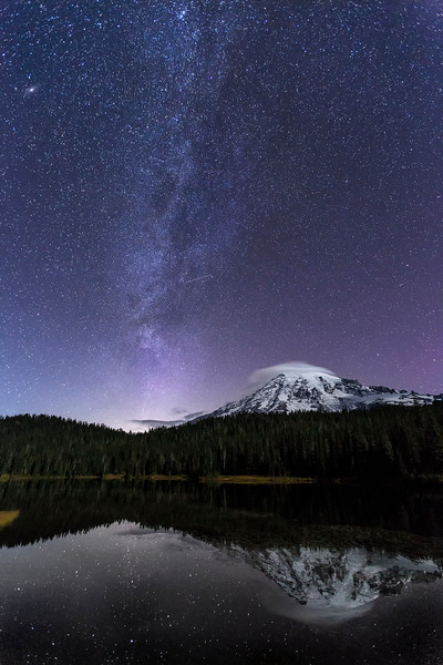 Mt Rainier, Milky Way at Reflection Lake, Mt Rainier National Park, Washington