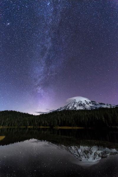 Mt Rainier, Milky Way at Reflection Lake, Mt Rainier National Park, Washington