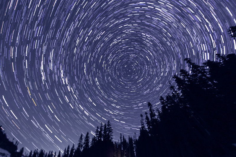 Star pinwheel around North Star, Tipsoo Lake, Mt Rainier NP, WA