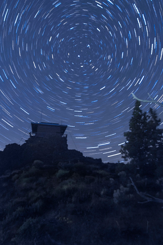 Star pinwheel over fire lookout, Schonchin Butte, Lava Beds National Monument, CA