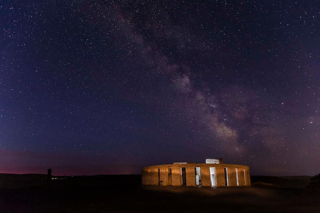 Milky Way over Stonehenge Memorial in Maryhill, WA