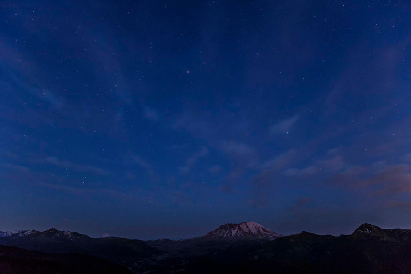 First stars over Mt St Helens, Washington