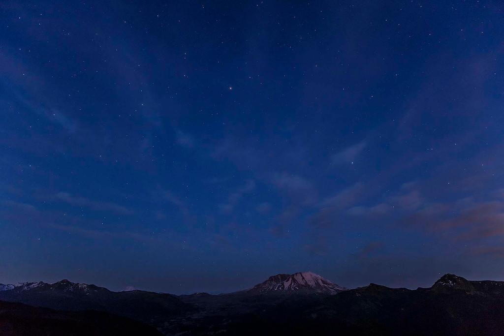First stars over Mt St Helens, Washington