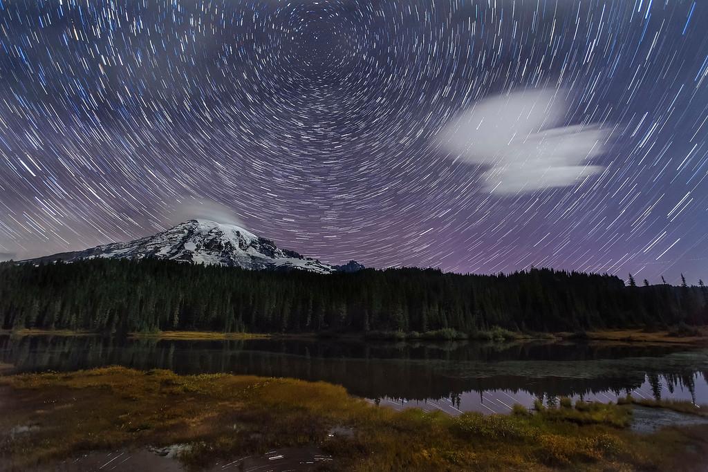Star Trails around North Star over Mt Rainier, Mt Rainier National  Park, Washington