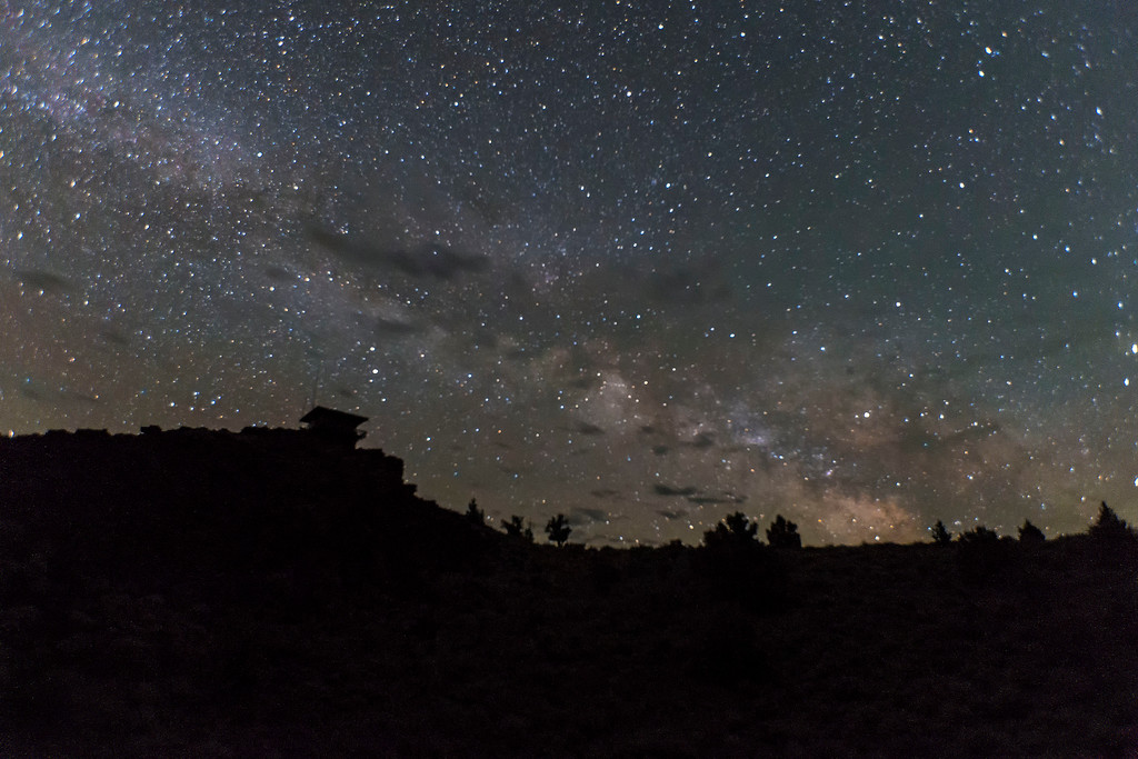 Spring Milky Way, Schonchin Butte lookout, Lava Beds National Monument, CA