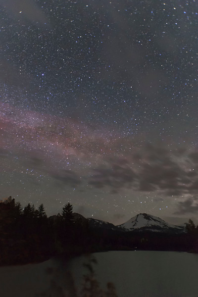Milky Way over Mt Lassen and Manzanita Lake, Lassen National Park, CA