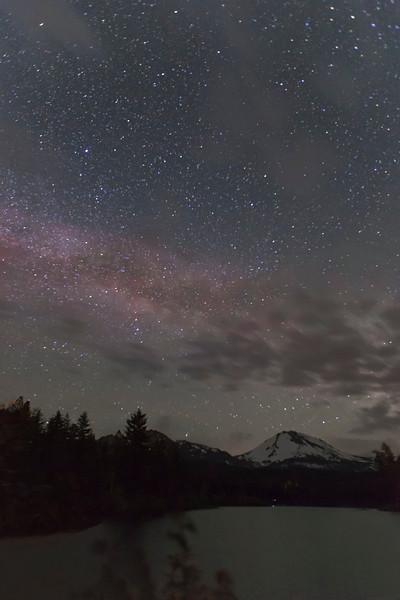 Milky Way over Mt Lassen and Manzanita Lake, Lassen National Park, CA