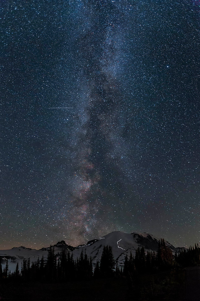 Milky Way, Meteor and climbers on Mt Rainier, Washington