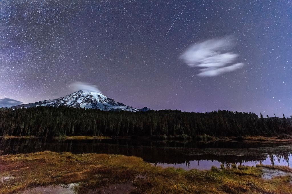 Meteors over Mt Rainier, Mt Rainier National Park, Washington