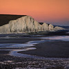 Seven Sisters at sunset, Sussex, England