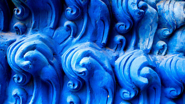 Blue Detail on Temple Koh Samui, Thailand
