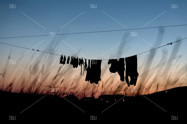 Dive gear drying on a clothesline
