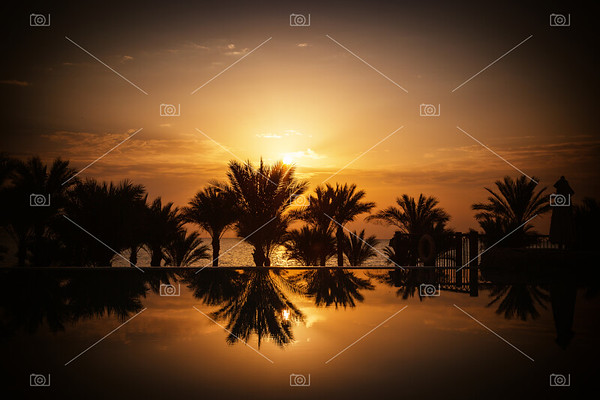 Sunrise over infinity pool and the Red Sea