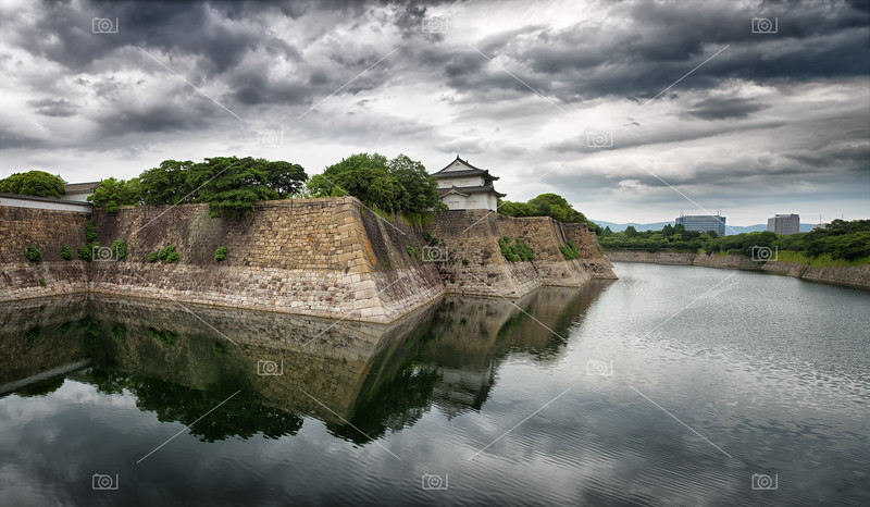 Osaka Castle walls and moat panorama