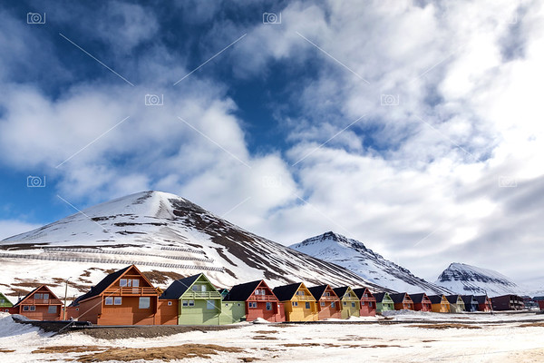 Row of colourful chalet houses in Longyearbyen, Svalbard