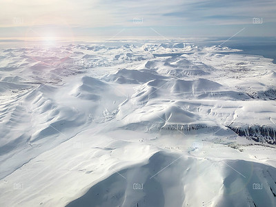 Svalbard mountains aerial view
