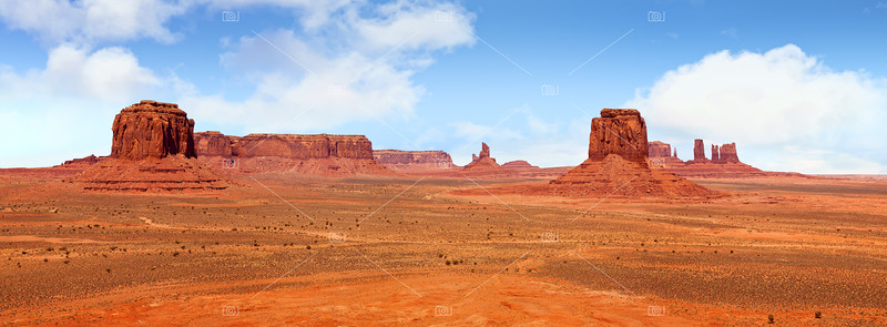 A panorama of Monument Valley
