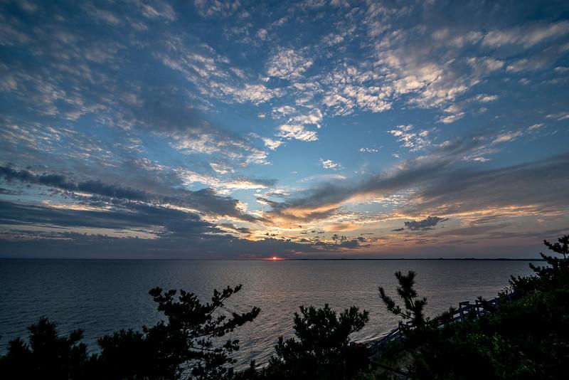 Sun setting over the bay