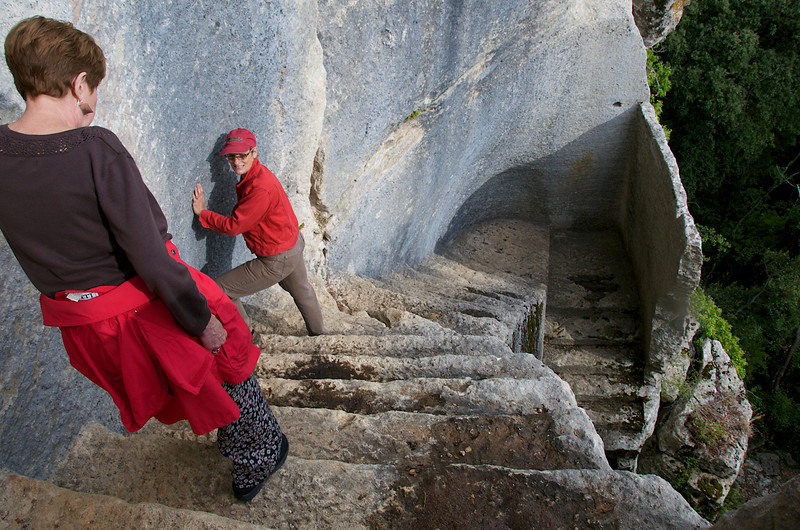 Faithie and Betty descending staircase