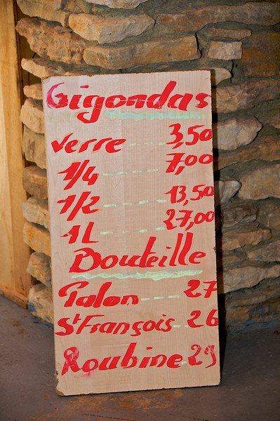 Gigondas wine list