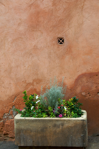 Planter and ochre wall in Roussillon