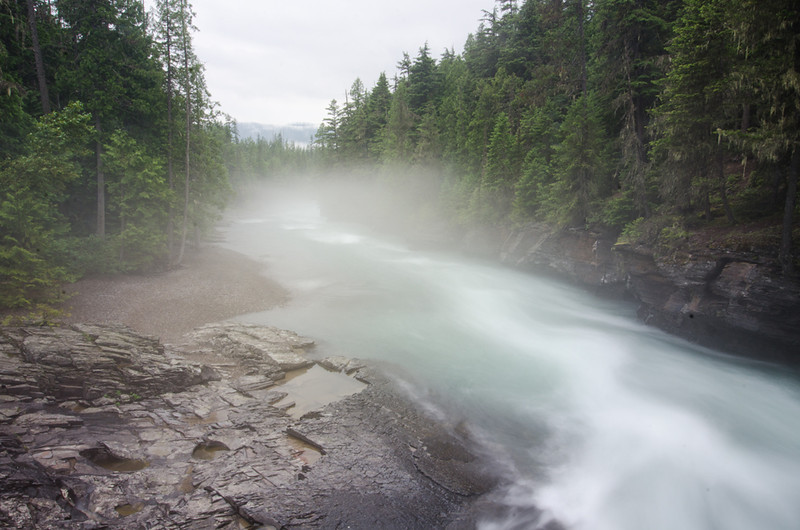 WAa1275 - Fog on McDonald Creek, Glacier NP, Montana