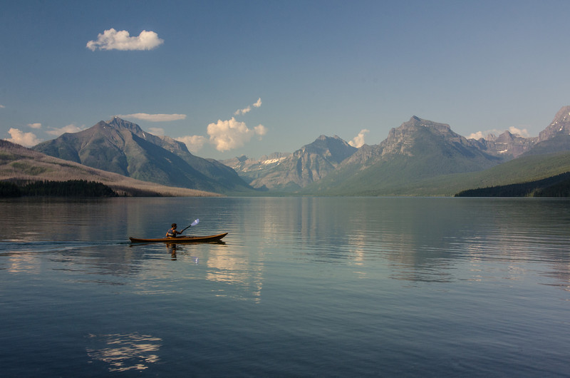 WAa725 - Kayaker, Lake McDonald Sunrise, Glacier NP, Montana