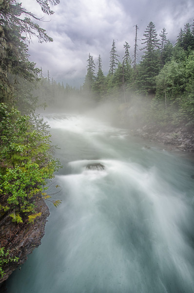 WAa1292 - Fog on McDonald Creek, Glacier NP, Montana