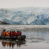 PB271 Trekkers in Zodiac from Via Australis Cruise Ship, Almirantazgo Bay, Patagonia, Chile