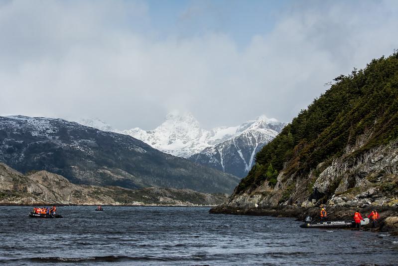 PB261 Trekkers Landing on Shore, Alberto De Agostini NP, Almirantazgo Bay, Patagonia, Chile