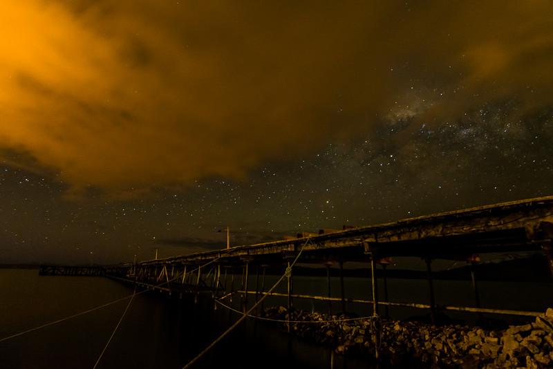WBb2122 Pier & Milky Way, Singular Patagonia (Puerto Bories Hotel), Puerto Natales, Last Hope Sound, Chile