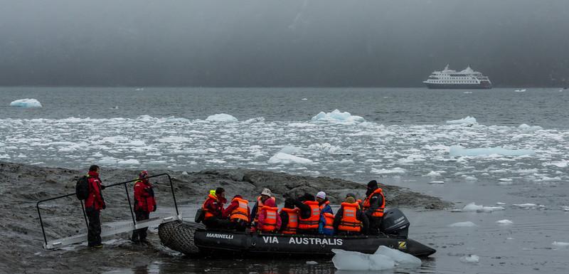 PB279 Trekkers from Via Australis Cruise Ship going Ashore, Almirantazgo Bay, Patagonia, Chile