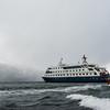 WAb589  Via Australis Cruise Ship & Zodiacs, Almirantazgo Bay, Darwin Range, Patagonia, Chile
