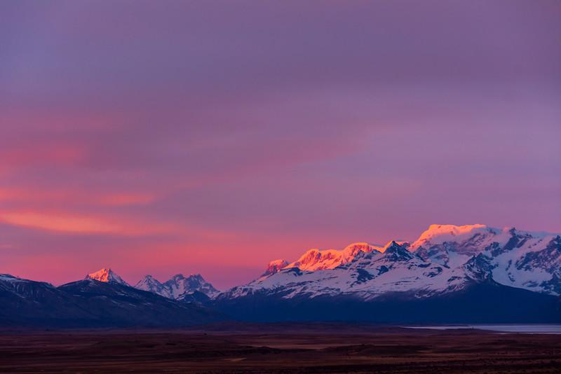 WAb1693 Sunrise, Andes Mtns, La Anita Valley, El Calafate, Patagonia, Argentina