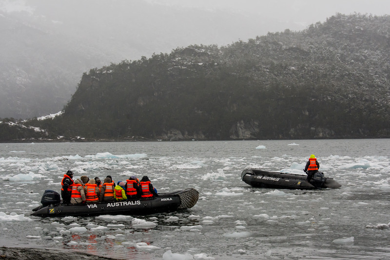 PB269 Trekkers in Zodiacs from Via Australis Cruise Ship, Almirantazgo Bay, Patagonia, Chile