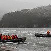 PB269 Trekkers in Zodiacs from Via Australis Cruise Ship, Almirantazgo Bay, Patagonia, Chile