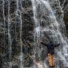 WAb657 Trekker & Glacial Waterfall, Darwin Range, Almirantazgo Bay, Patagonia, Chile