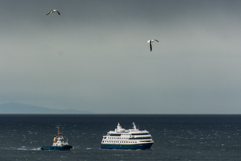 WBb1751 Tugboats and Via Australis, Punta Arenas Port, Punta Arenas, Chile