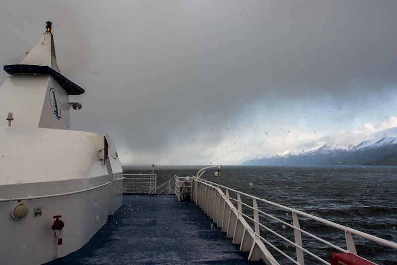 WAb550  Via Australis Cruise Ship in Snowstorm, Almirantazgo Bay, Darwin Range, Patagonia, Chile