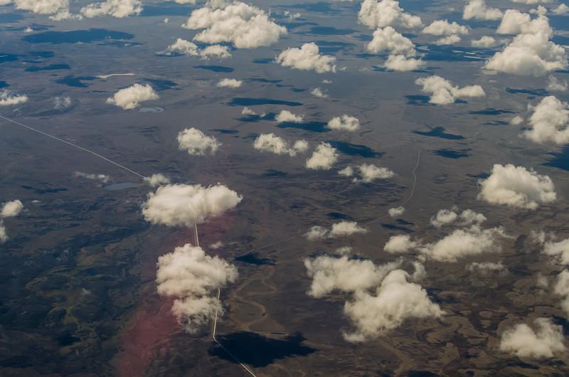 WAb2425 Cumulus Clouds over Patagonian Steppe Aerial, Punta Arenas, Chile