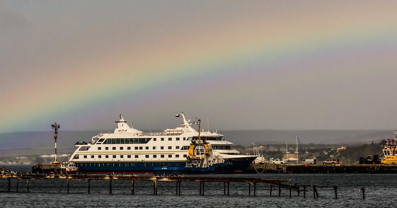 WBb1756 Tugboats and Via Australis, Punta Arenas Port, Punta Arenas, Chile
