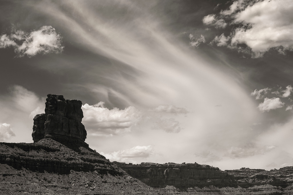 Butte and clouds, Valley of the Gods, Utah