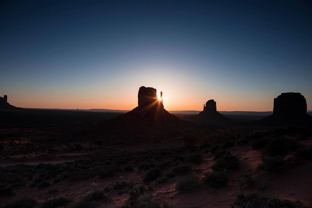 Sunrise through Left Mitten, Monument Valley, Arizona