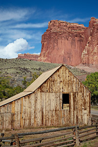 The historic barn in the Fruita area of Capitol Reef National Park, Utah, USA.