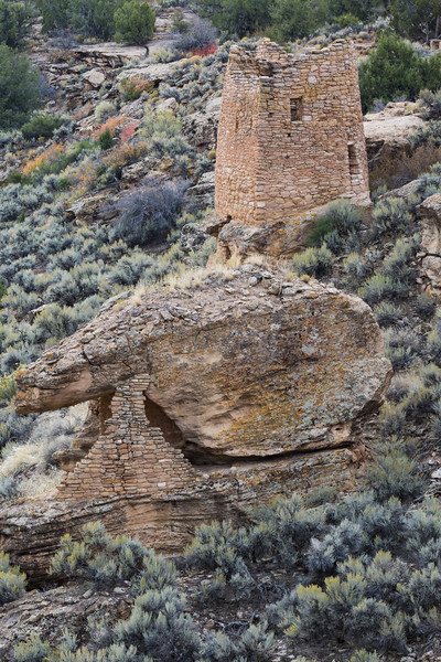 In the foreground is Eroded Boulder House, with one of the Twin Towers visible in the background. Taken on the Little Ruin Trail in Hovenweep National Monument, Utah, USA.